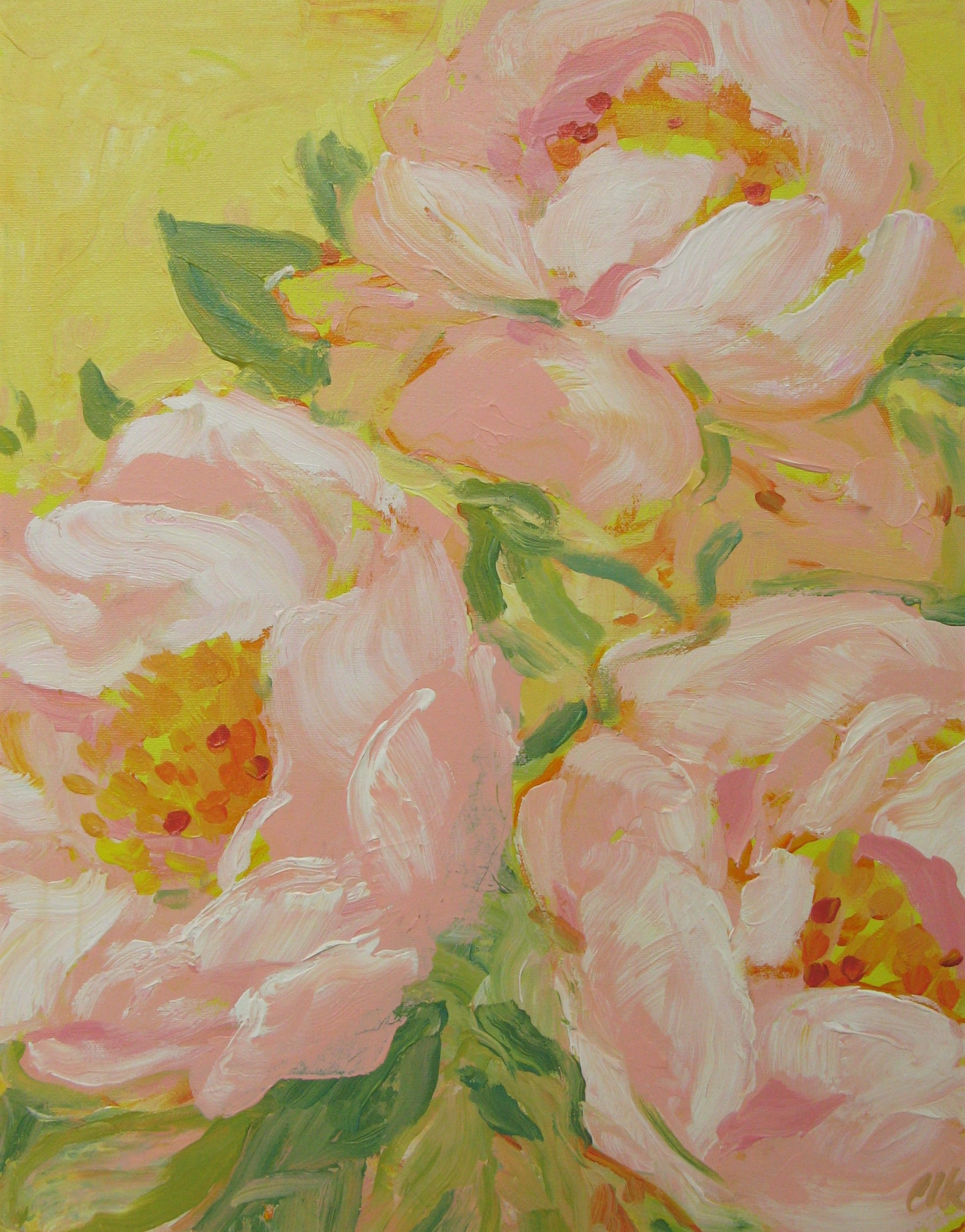 Peony Season - acrylic on canvas 20x16