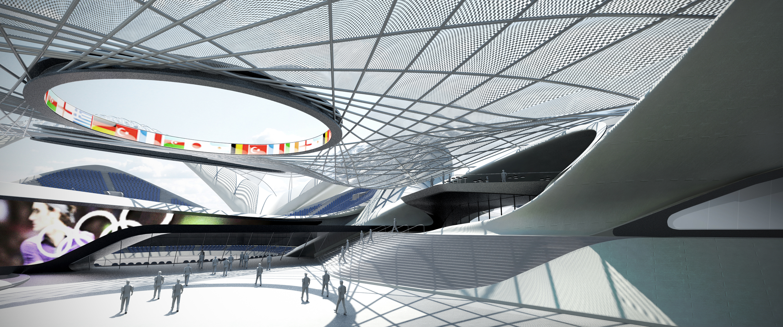A roof panelling system is utilised to blur the transition between the shells and tensile members, while providing shelter for the programmed seating below. The vaulted shape of the transparent  ETFE panels provide structural rigidity while adding a visceral and material quality to the transition between the compression and tensile parts of the system. Together the tensile members in concert the compression shells read as a single parametrized surface that correspond to the programmatic and structural requirements of the building on site.