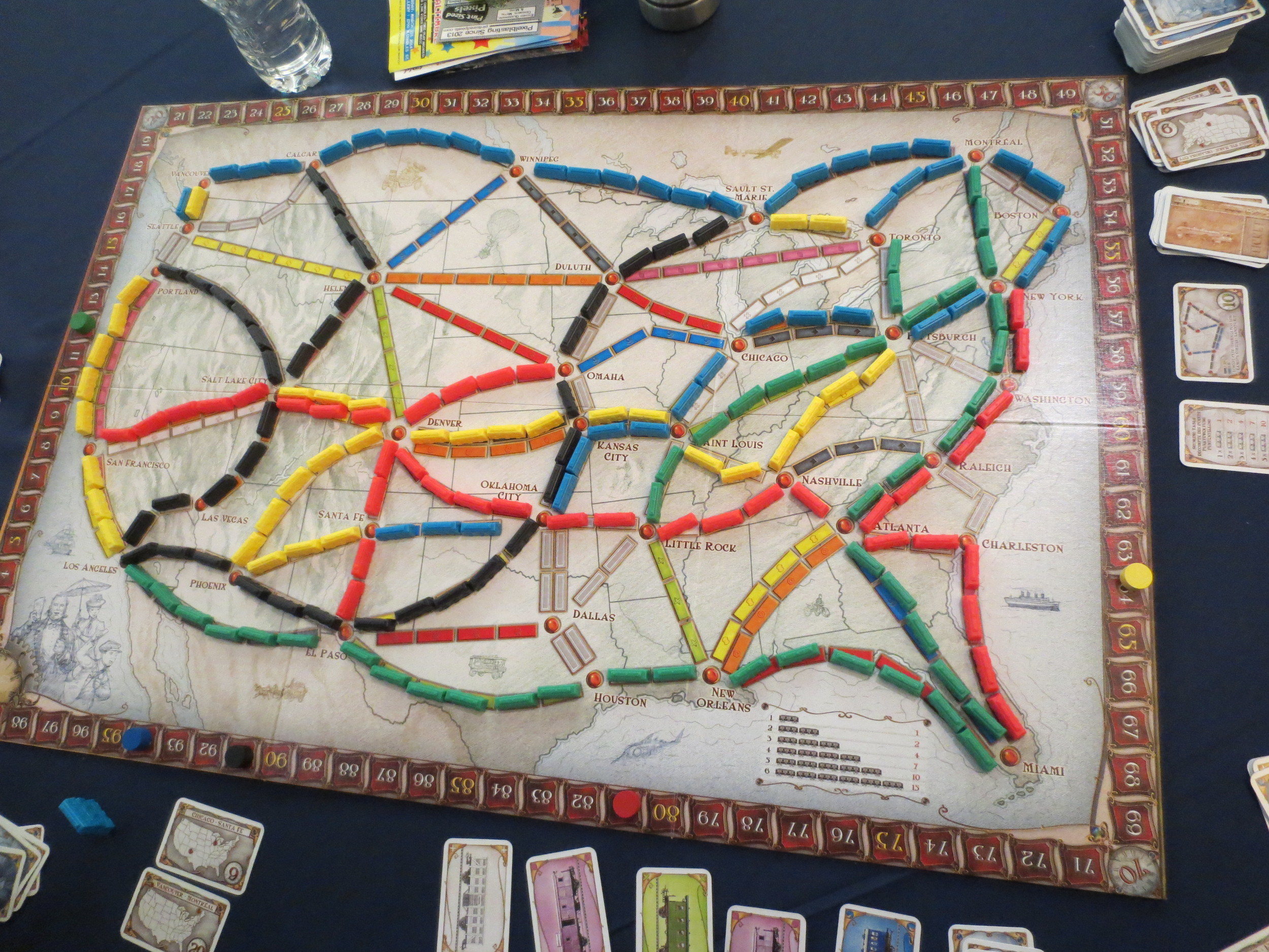 Jen, Alex, Stephen, and my beautiful Ticket to Ride board. I squeaked out the win.
