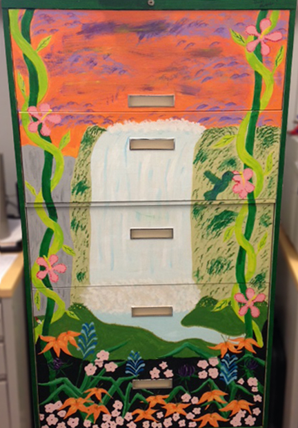 Spruced up an old Filing Cabinet at Carmine Carro Community Center, Brooklyn. 2014