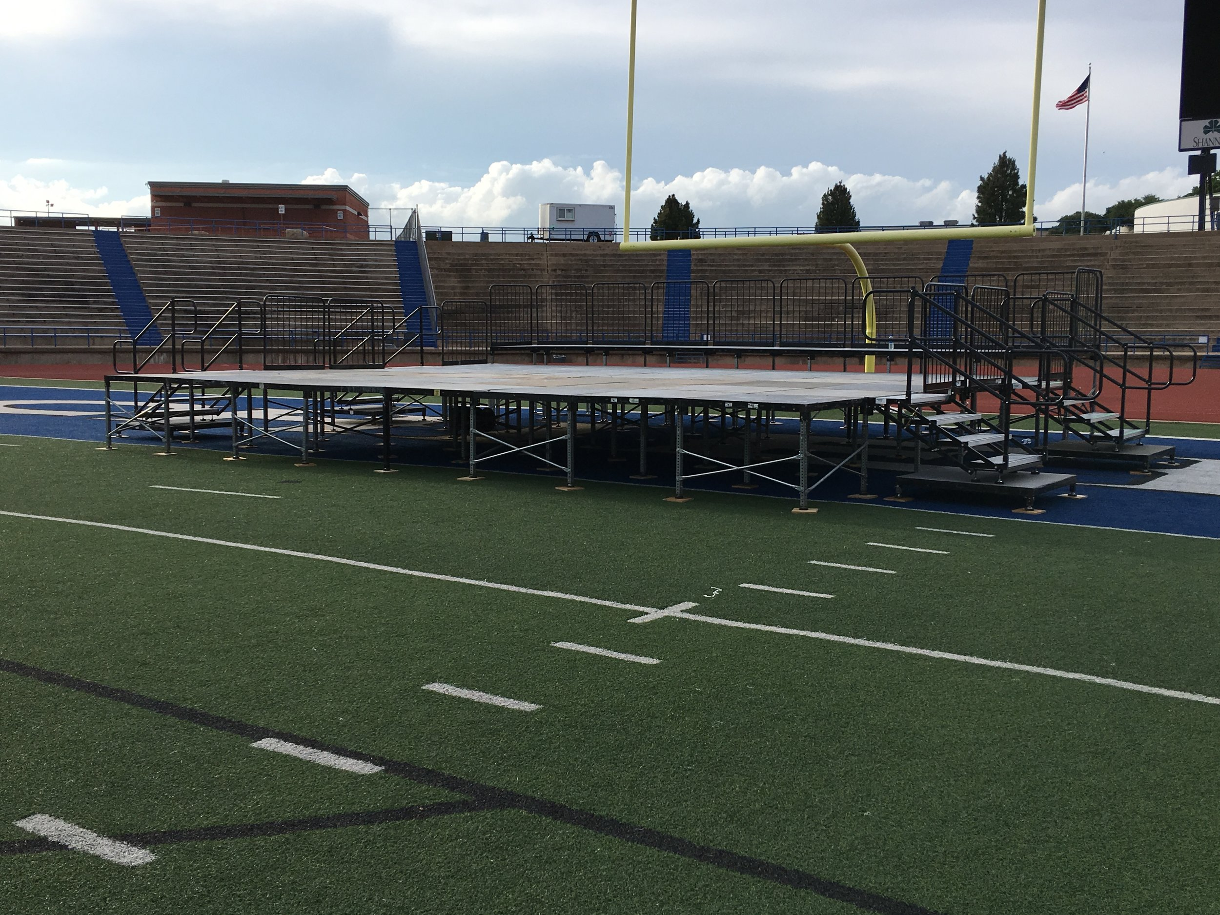"""Portable Staging - Does your event need a small stage, we have various solutions to meet your needs.We have in stock a Biljax ST8100 Steel modular stage. Stage is configurable to any shape or size in 4x4ft sections. This modular stage system can be customized to bridge uneven terrain, extend existing stages, build fashion runways or stage trusts, even deck over a pool!The Bijax stage system has a infinitely adjustable leg system. Deck heights can be built from 6"""" to as high as your application requires."""