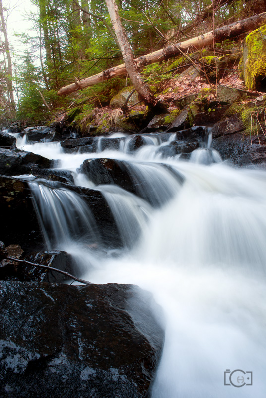 Algonquin Park waterfall with spring melt water coming down in late March