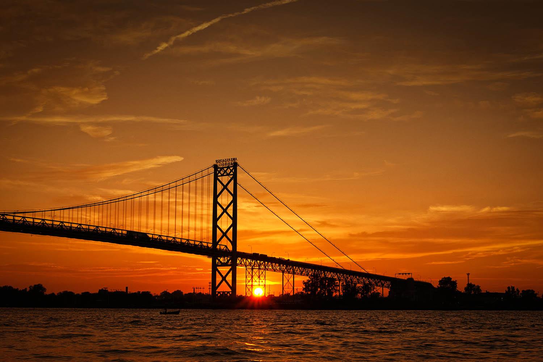 Ambassador Bridge at sunset