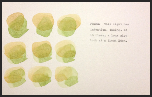 PRIME: This light has intention, taking, as it rises, a long slow look at a fresh Eden.