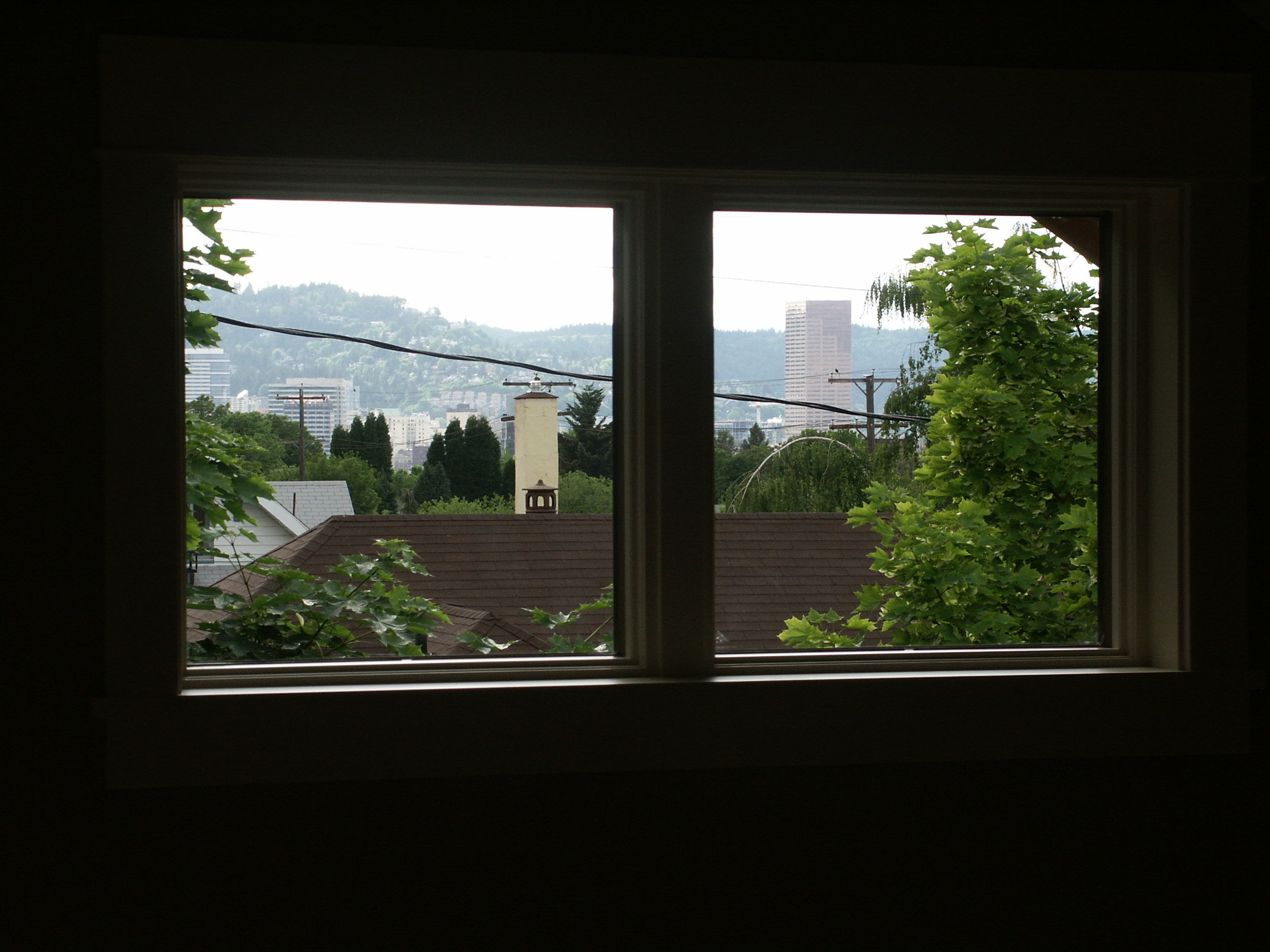 second floor unit view of Portland skyline