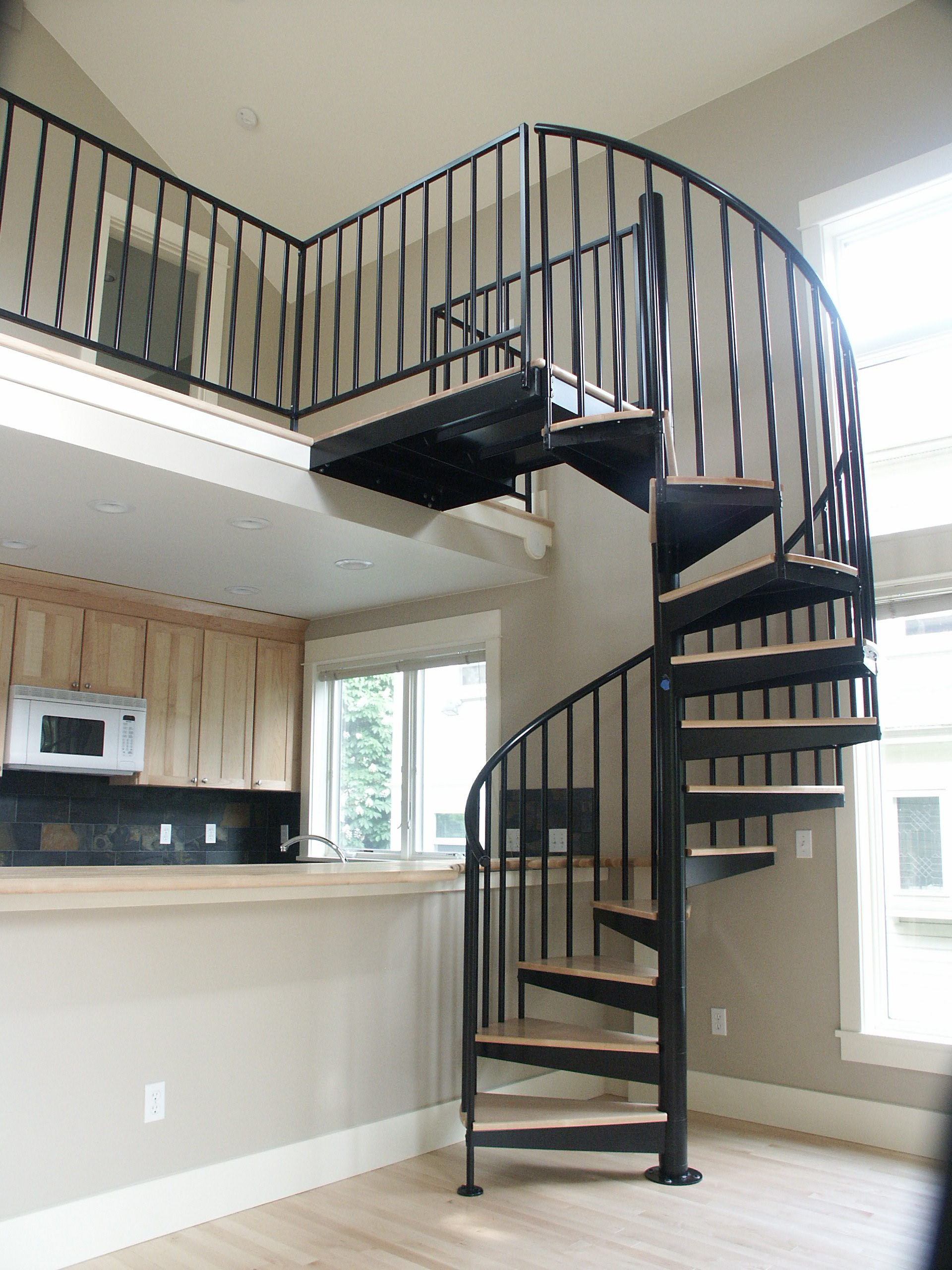 upstairs unit spiral staircase