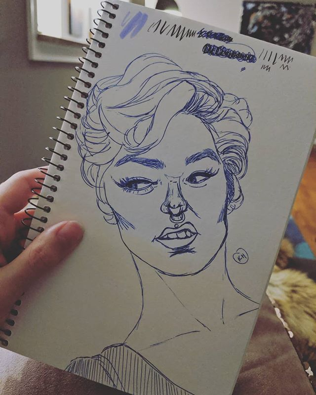 """The """"Eh"""" face.  I like to doodle in pen because when I mess up it forces me to move on instead of erasing and rendering my mistakes for hours. Or it just makes me turn her nose and things into a potato. 🥔 🤷"""