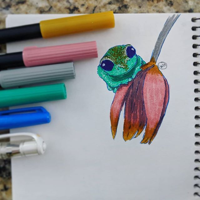 My morning doodle. Lil Tree Frog 🐸🌷🌷🖊️