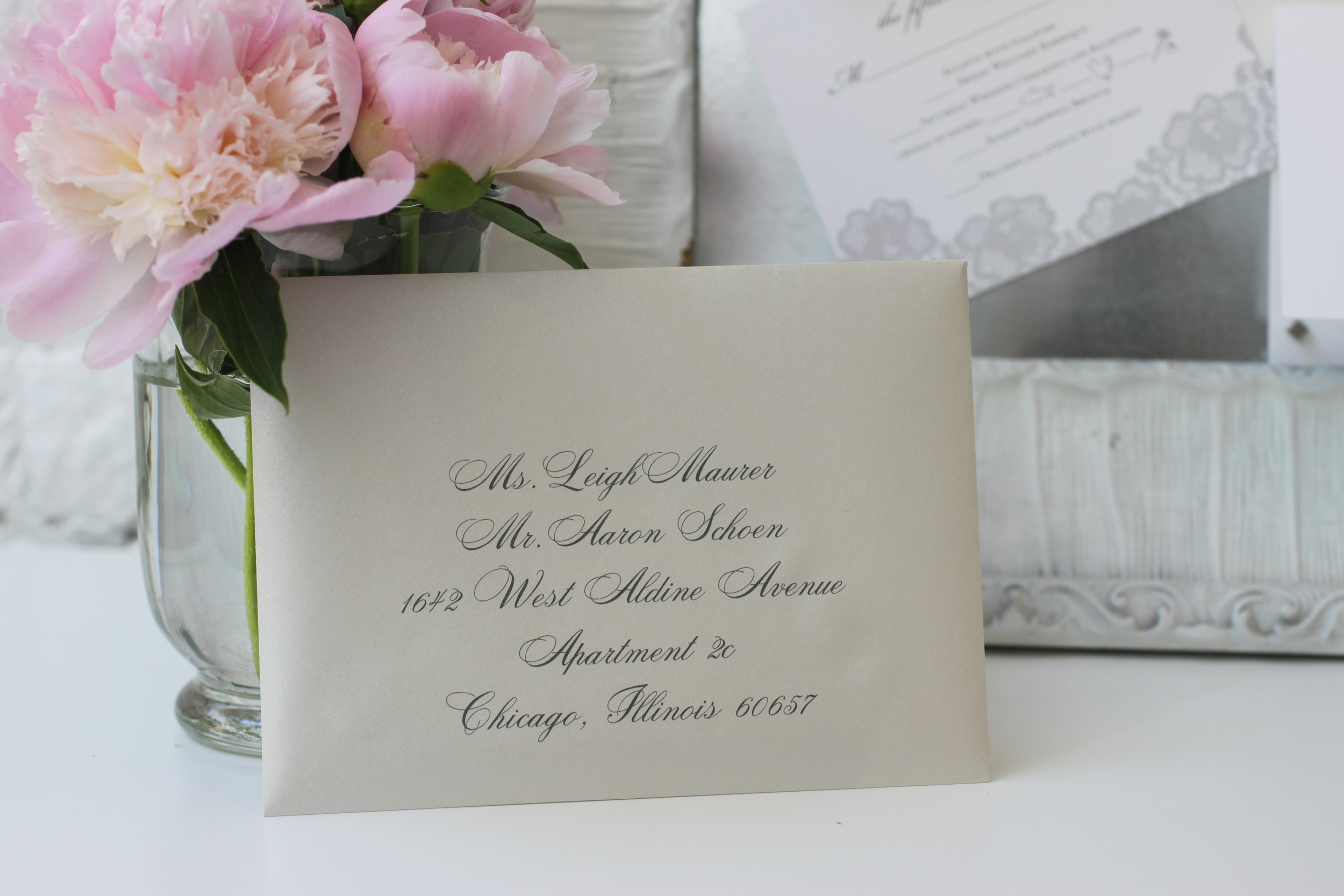 Example of digital addressing designed to match  Andria & Andrew's wedding invitations .