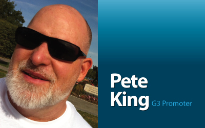 G3 Producer and Promoter, Pete is from San Francisco, is always traveling somewhere around the world, and has over 30 years of major event production experience.