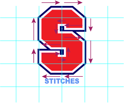"""(it may help to move the art around on the grid, to get an even 1"""" measurement on the portions of the satin stitches)"""