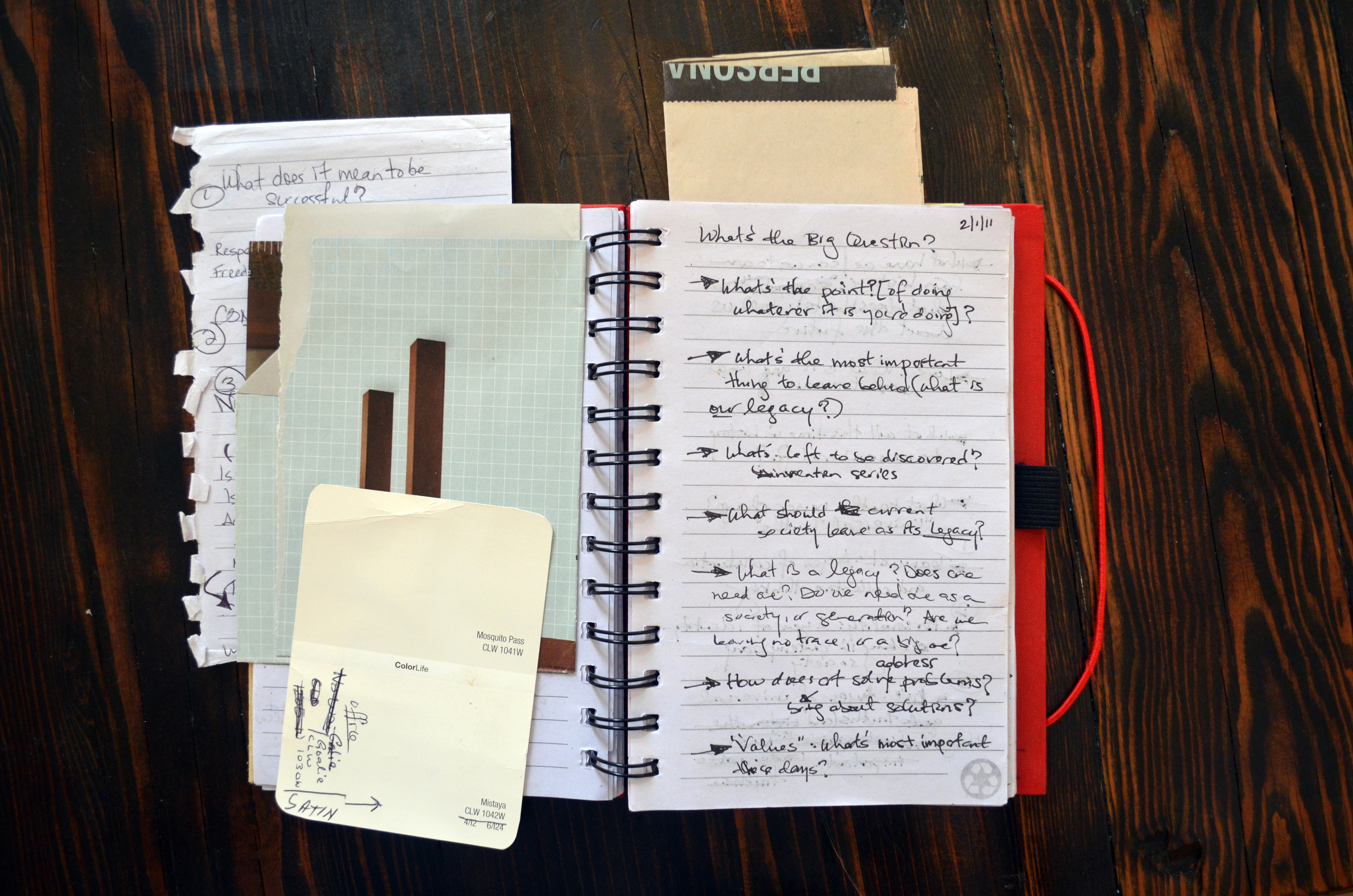"""My notebook from 2011 as I worked out the """"theme"""" structure for what is now the foundation of TPR programs"""