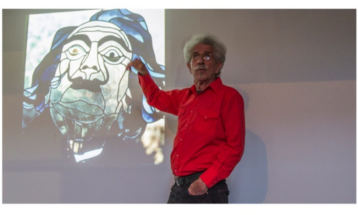 """Glass pioneer  Paul Marioni  shared his stories as well, calling his delightful presentation """"Sense and Nonsense"""" for a full house of admirers."""