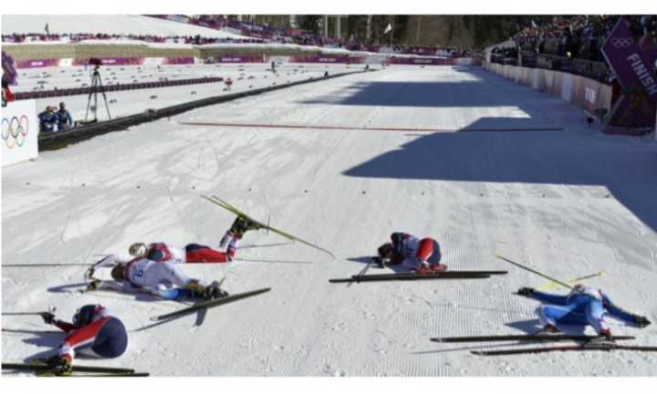 The finish line at the women's cross-country skiing race at the 2014 Sochi Olympics. I have been saving this image since I saw the race on TV, thinking it must somehow be useful in thinking about the effort of creativity and entrepreneurship.