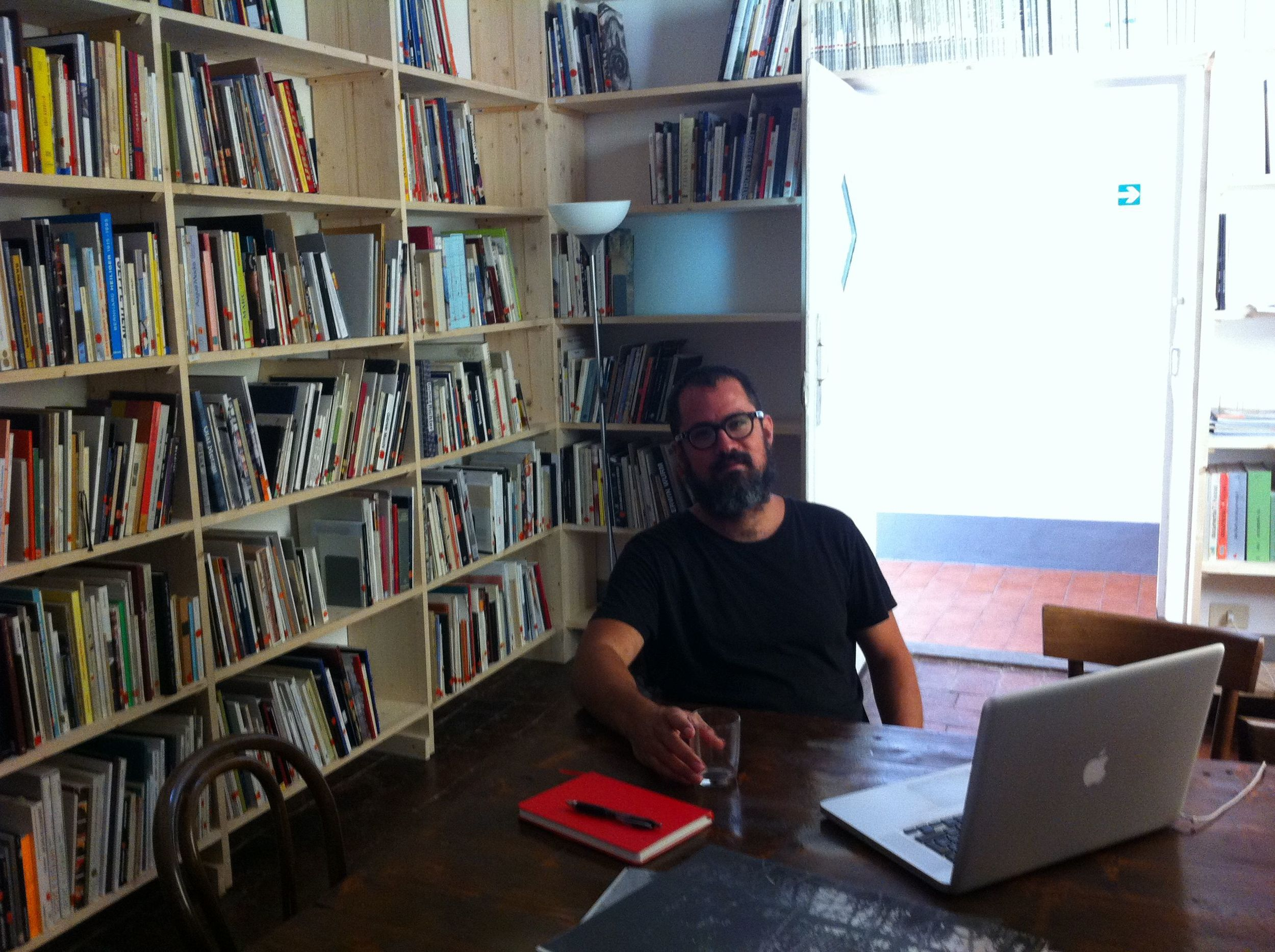 Juan Pablo in the library at Villa Romana during our interview