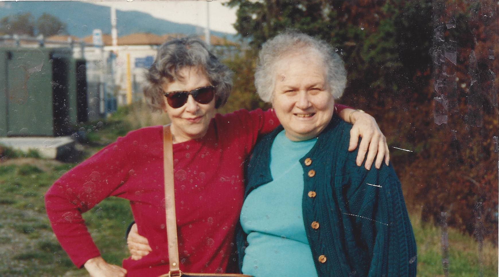 Denise Levertov with her friend Barbara Fussiner.  Photographer unknown.