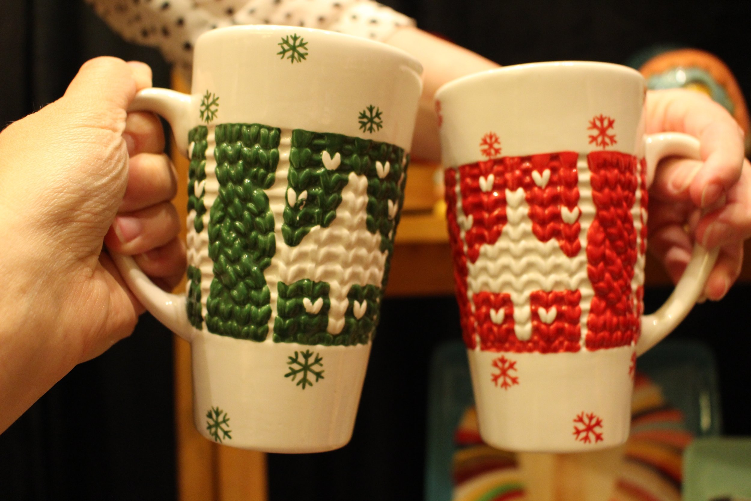 We loved these sweater mugs! Make your own design or paint solid.