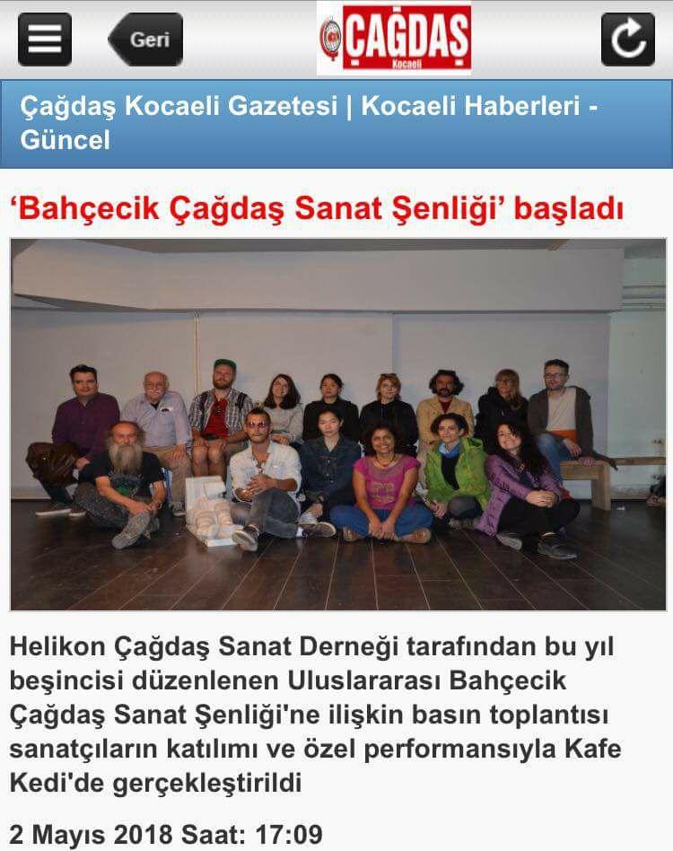 newspaper article about exhibit at kedi art gallery,izmit   http://www.cagdaskocaeli.com.tr/mobil/haber/bahcecik-cagdas-sanat-senligi-basladi-h88431.html