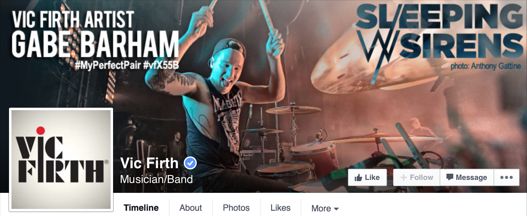 Vic Firth Facebook Banner - Gabe Barham of Sleeping With Sirens