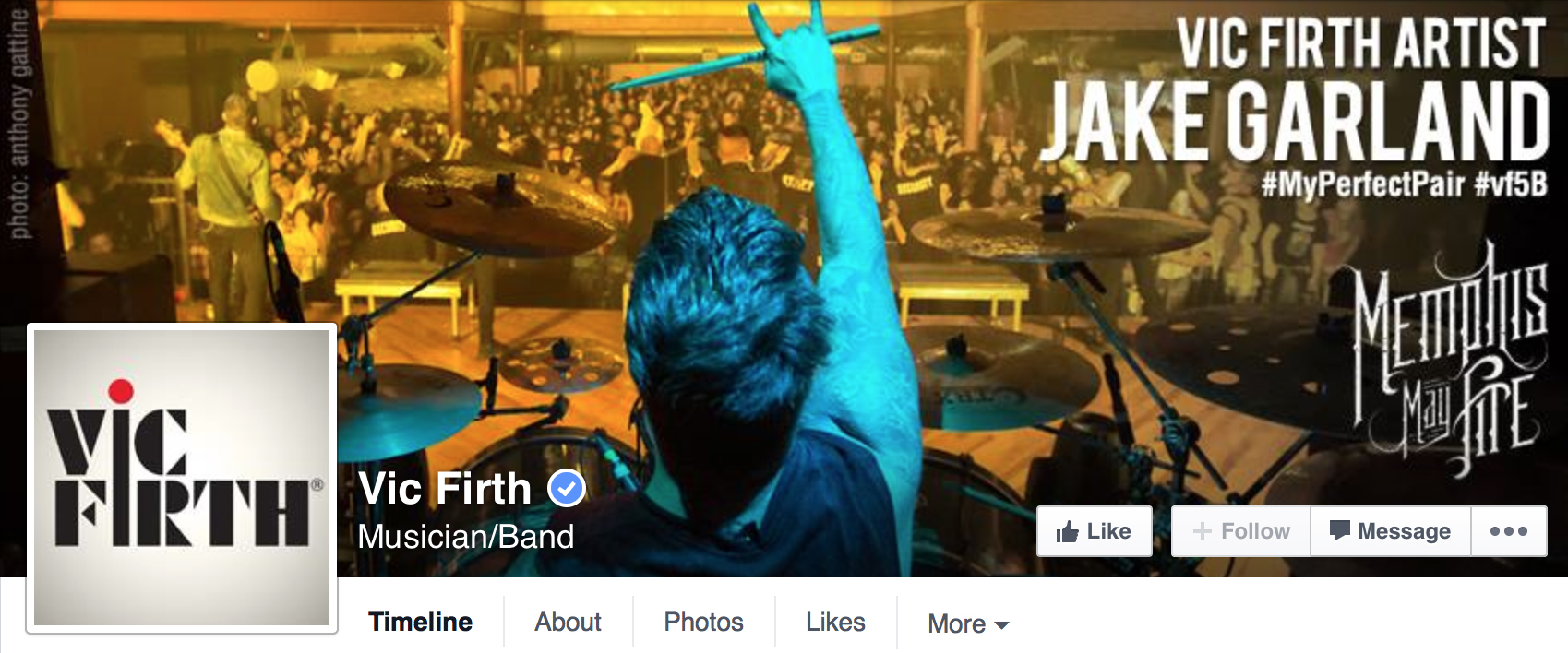 Vic Firth Facebook Banner - Jake Garland of Memphis May Fire