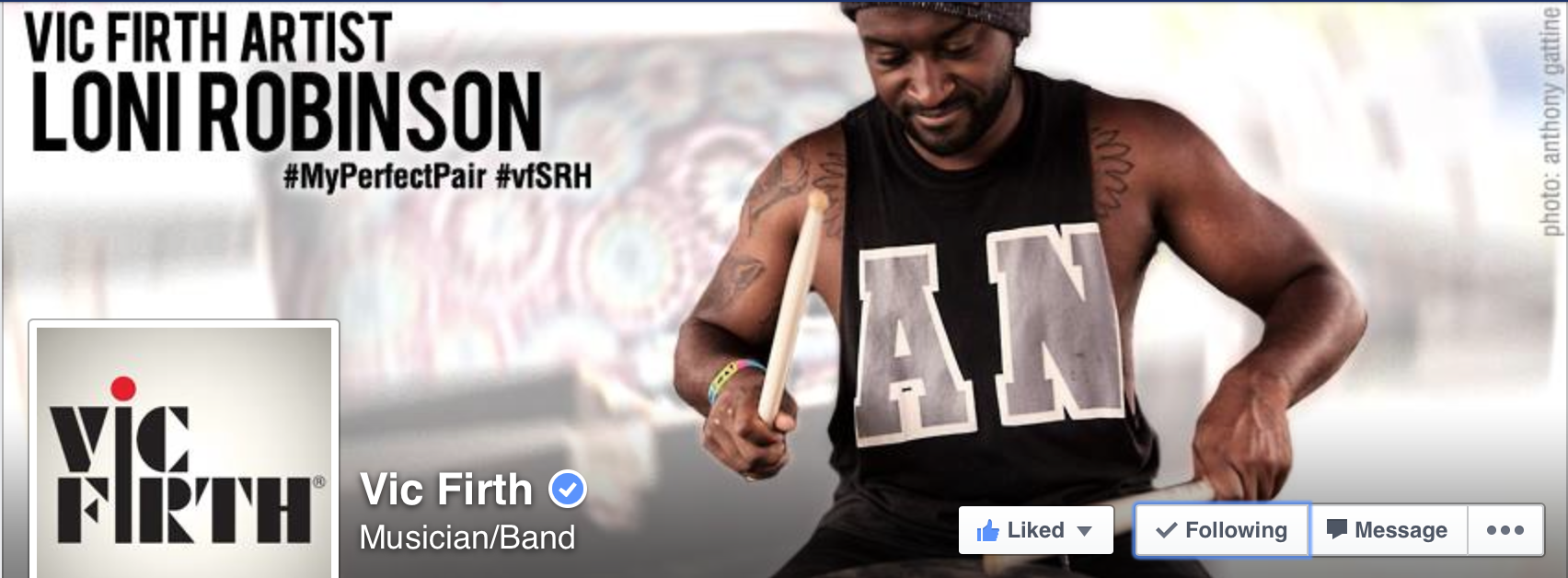 Vic Firth Facebook Banner - Loni Robinson of Letlive.