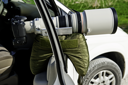 The V2 Molar Bean Bag™ mounted on a car door with a 500mm lens. The window is wound all the way down