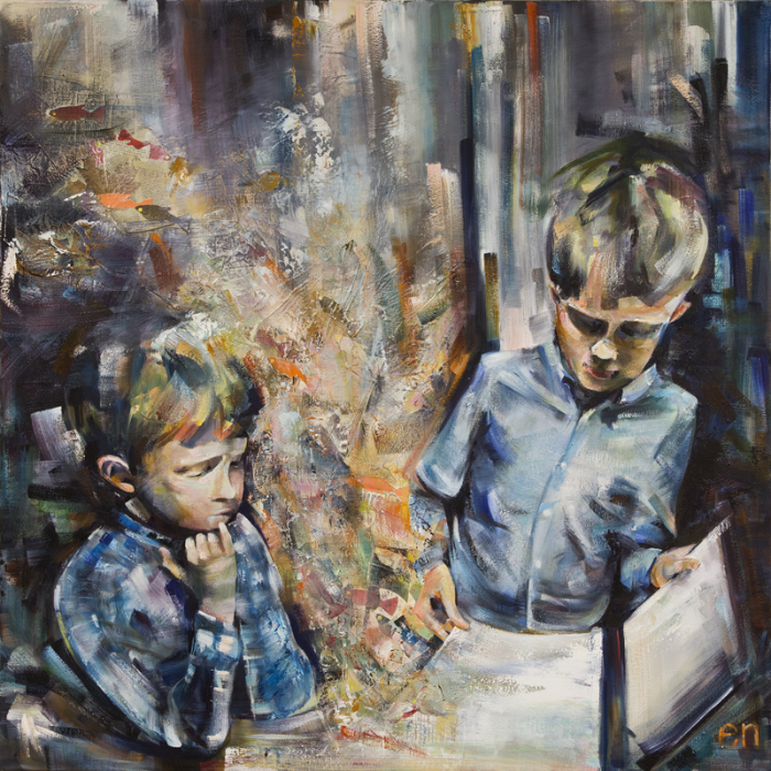 """Older Brothers  48"""" x 48"""" oil, leaves, and paper collageon canvas"""