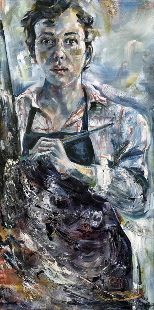 "February Self Portrait  24"" x 48"" oil on canvas"