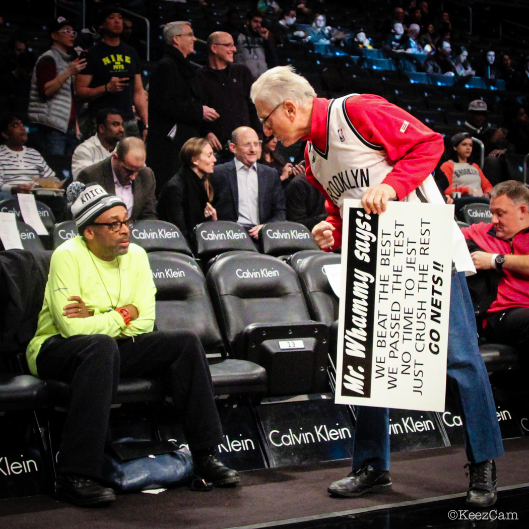 Looks like Mr. Whammy is giving Spike Lee the business courstside in Brooklyn