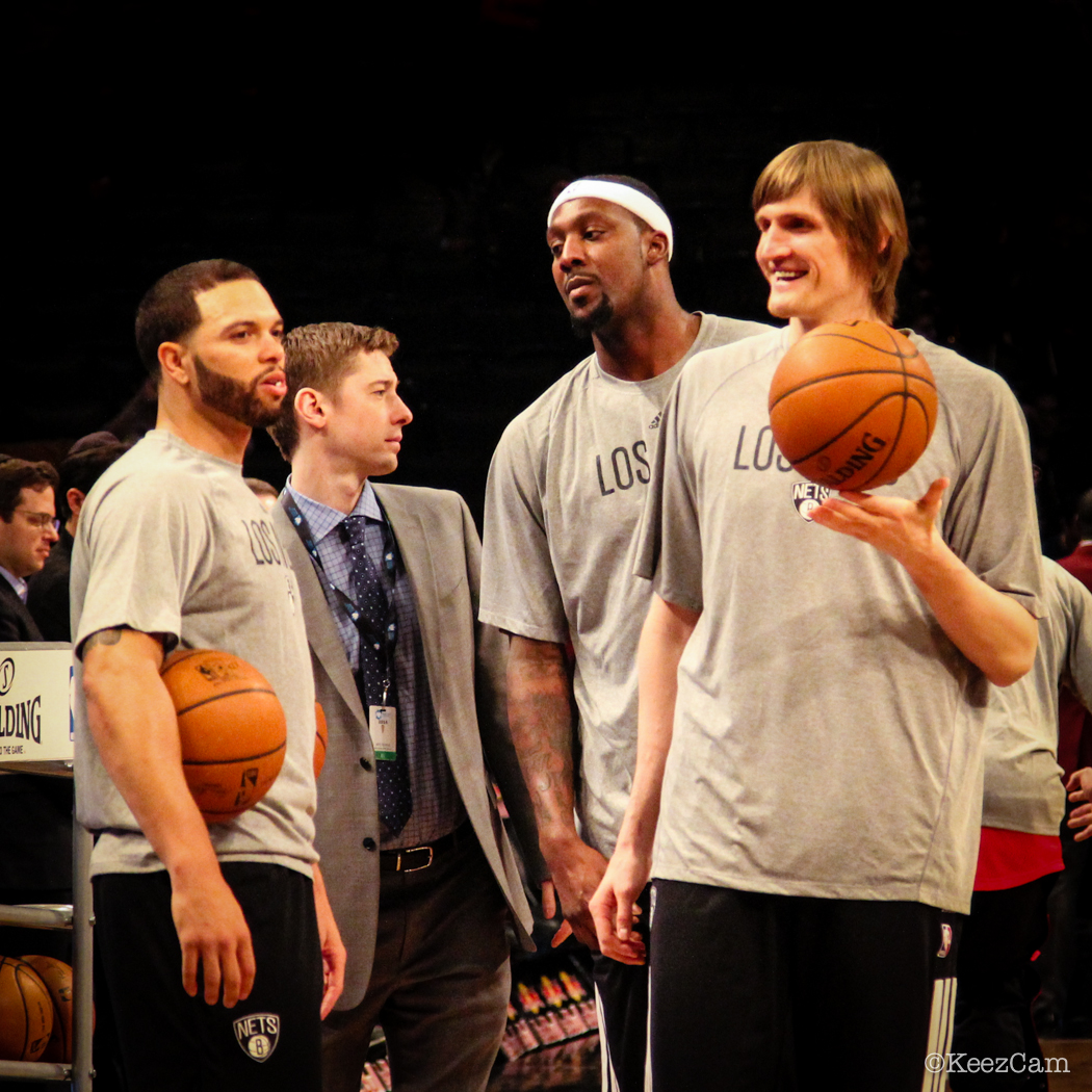 Deron Williams, Andrei Kirilenko & Andray Blatche right before tip-off vs Chicago