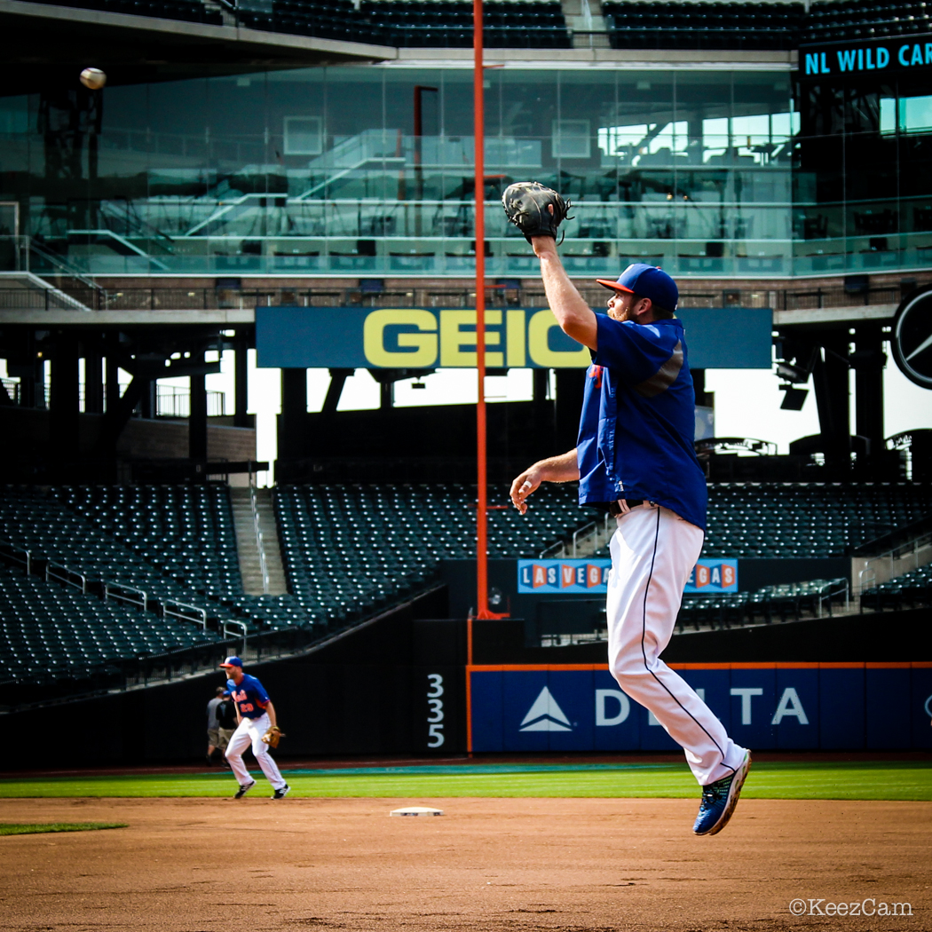 New York Mets 1B Lucas showing the pre game hops during BP
