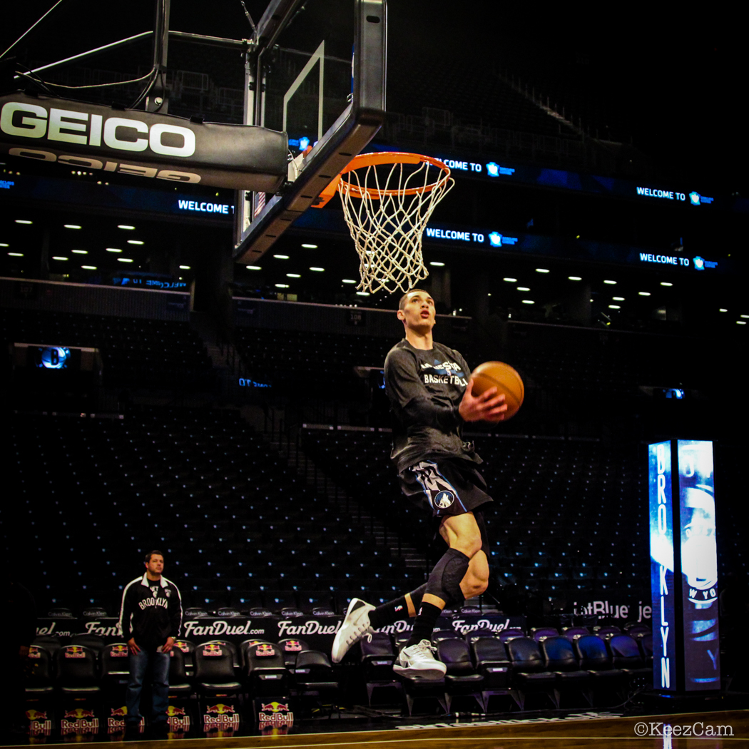 Minnesota Timberwolves G Zach LaVine takes flight in Brooklyn.