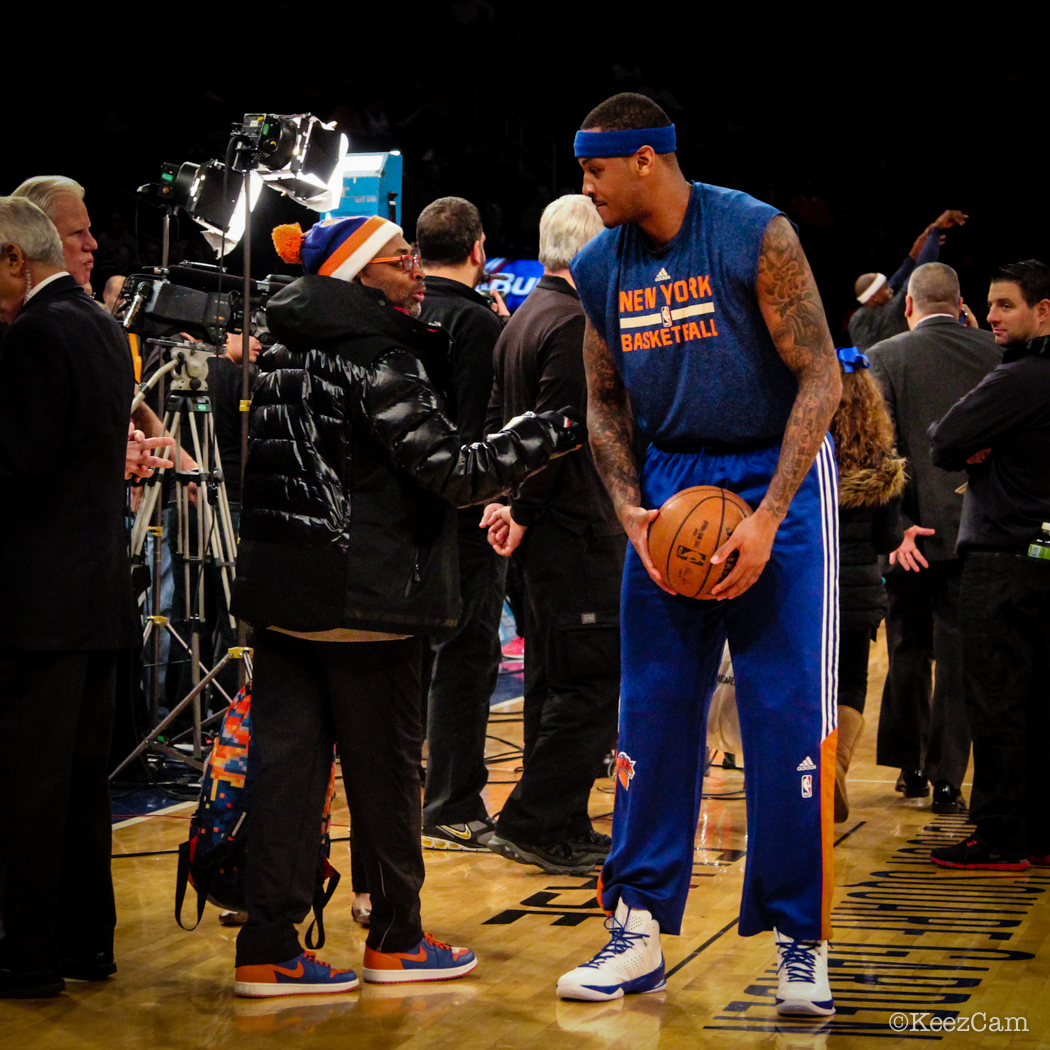 Spike Lee & Carmelo Anthony court side before tipoff vs New Orleans Pelicans