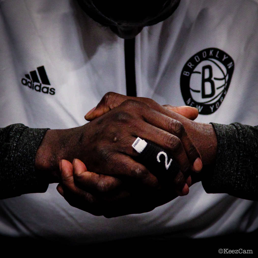 Kevin Garnett ready for tipoff vs Toronto Raptors.