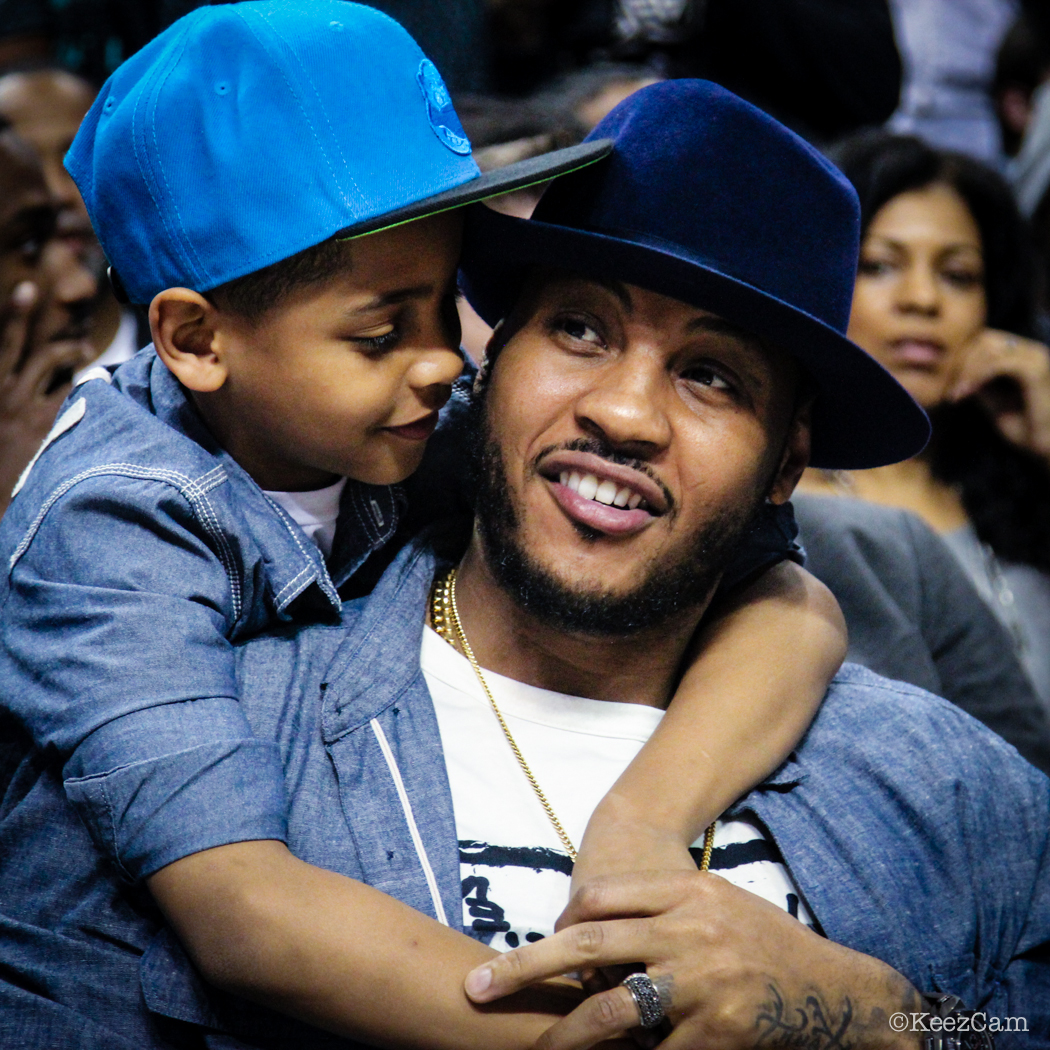 Kiyan & Carmelo Courtside at the 2015 Jordan Brand Classic at Barclays Center