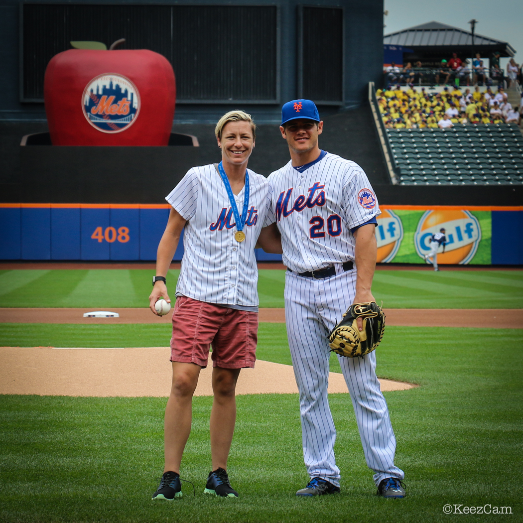 Abby Wambach & Anthony Recker before the first pitch at Citi Field