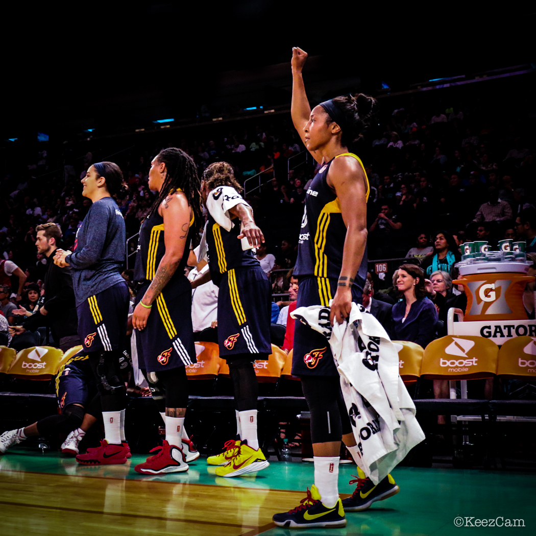 Indiana Fever G Briann January Eastern Conference Finals champion stance at Madison Square Garden