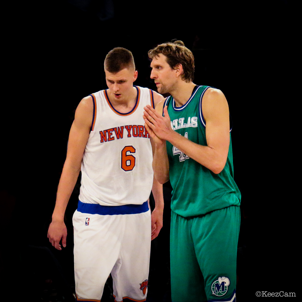 New York Knicks F Kristaps Porzingis & Dallas Mavericks F Dirk Nowitzki at Madison Square Garden