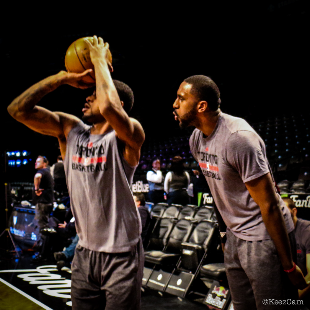 Toronto Raptors G Terrence Ross & F Patrick Patterson pre-game at Barclays Center