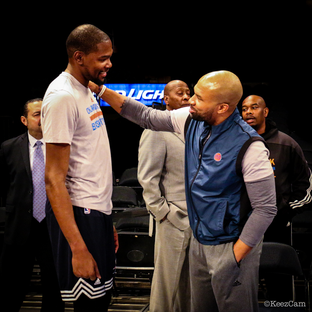 Kevin Durant & Derek Fisher at Madison Square Garden