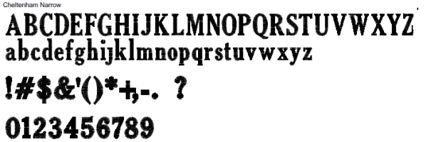 Cheltenham Narrow Full Alphabet