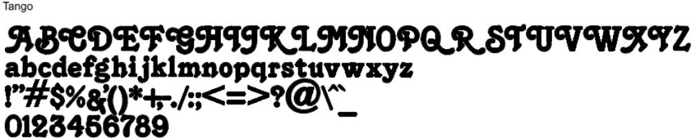 Tango Full Alphabet