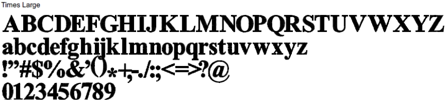 Times Full Alphabet