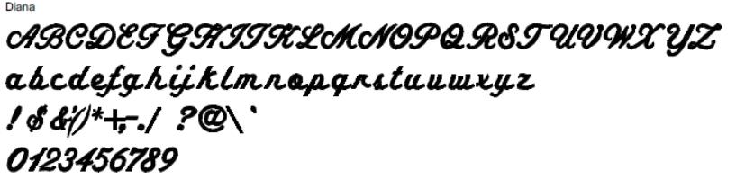 Diana Full Alphabet