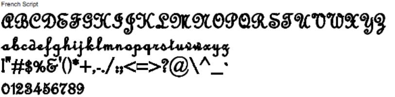 French Script Full Alphabet