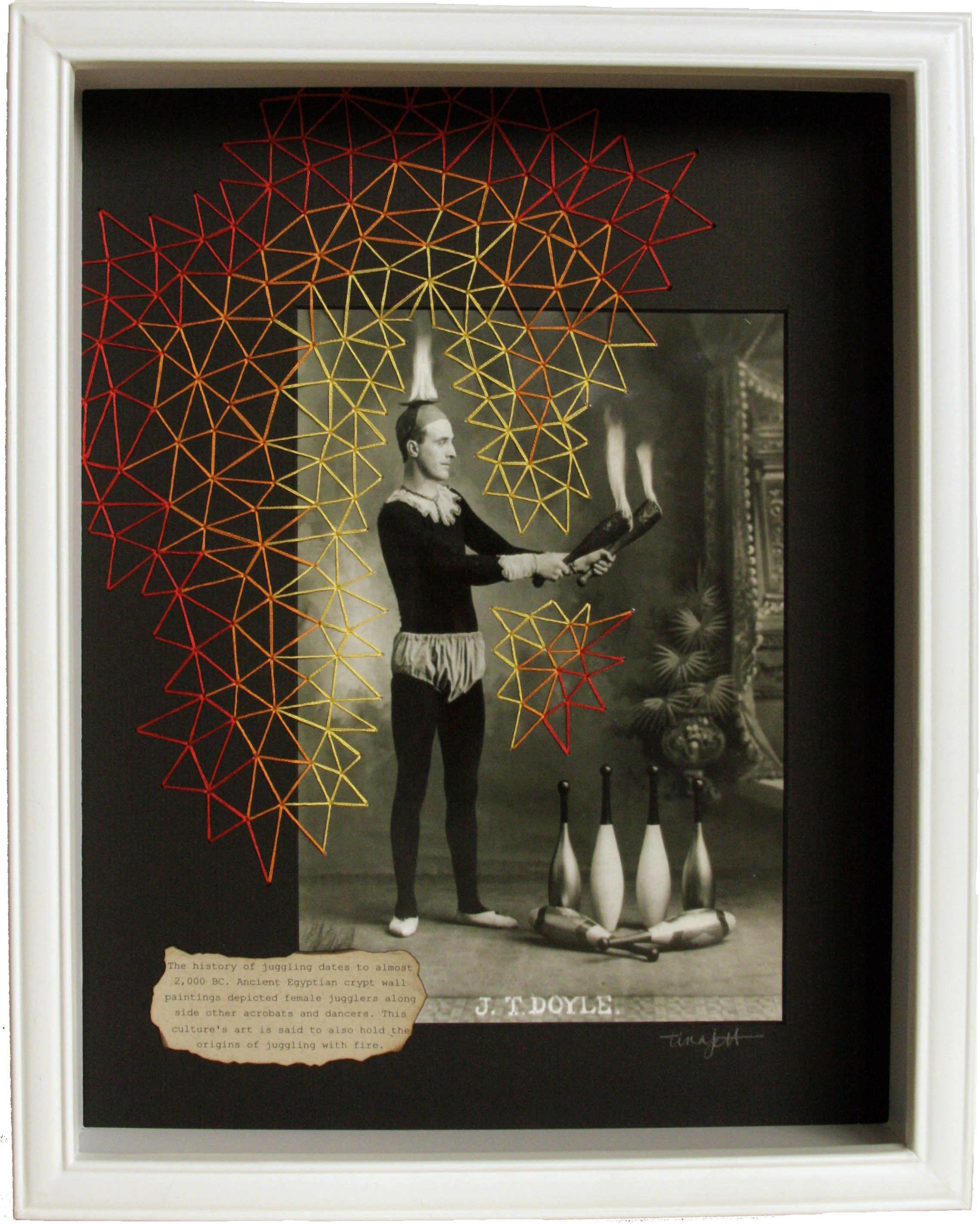 Doyle on Fire - embroidered photograph by Tina Jett