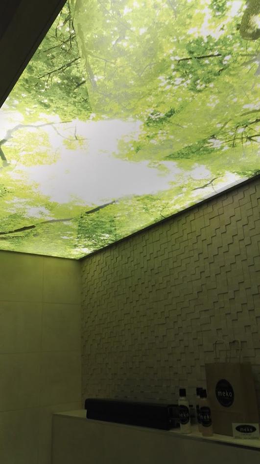 Vessan katossa on tunnelmaa luova luontoprintti, jonka valaisee kuvan taakse asennettu LED-nauha.
