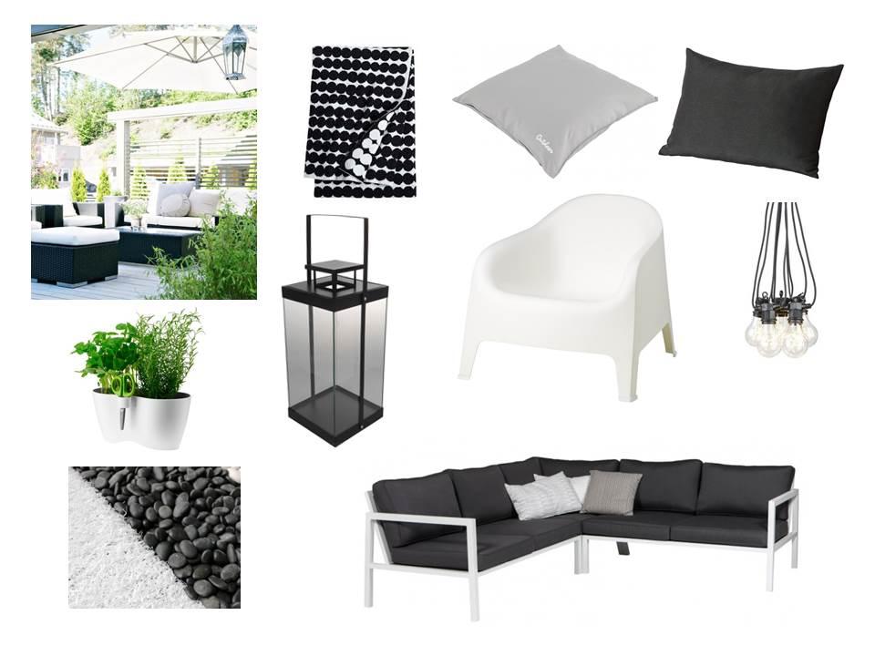 Mustavalkoisen terassin fiilistä:Belfort kulmasohva/Vepsäläinen, Skarpo nojatuoli/Ikea, valkoinen tekonurmimatto Coral/Saltex, LED-valoketju/Clas Ohlson, yrttiruukku/Biltema, Cello lyhty/K-Rauta, Marimekko Räsymatto viltti/Room21, Hållö tyyny/Ikea, St. Tropez tyyny ulkokäyttöön/ Bauhaus
