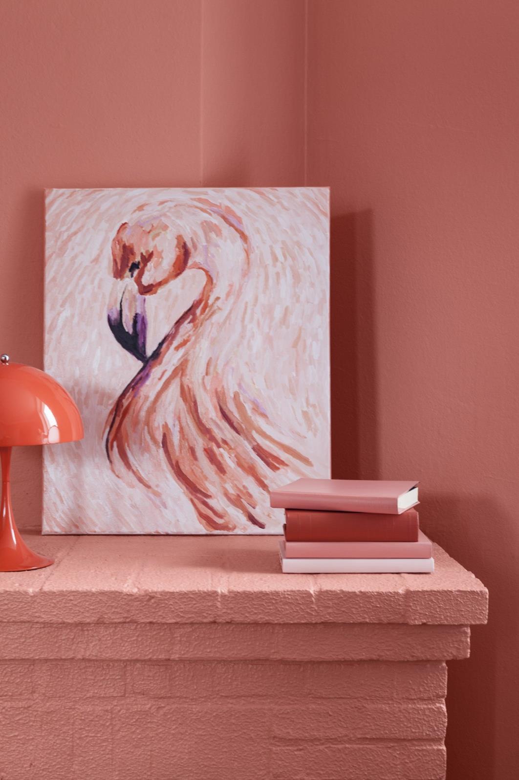 Tikkurilan vuoden väri K319, Flamingo. Sävyä kuvaillaan seuraavasti: persikkainen, mehukas ja elinvoimainen, ripaus auringonpaistetta ja leikkisyyttä! Kuva: Tikkurila