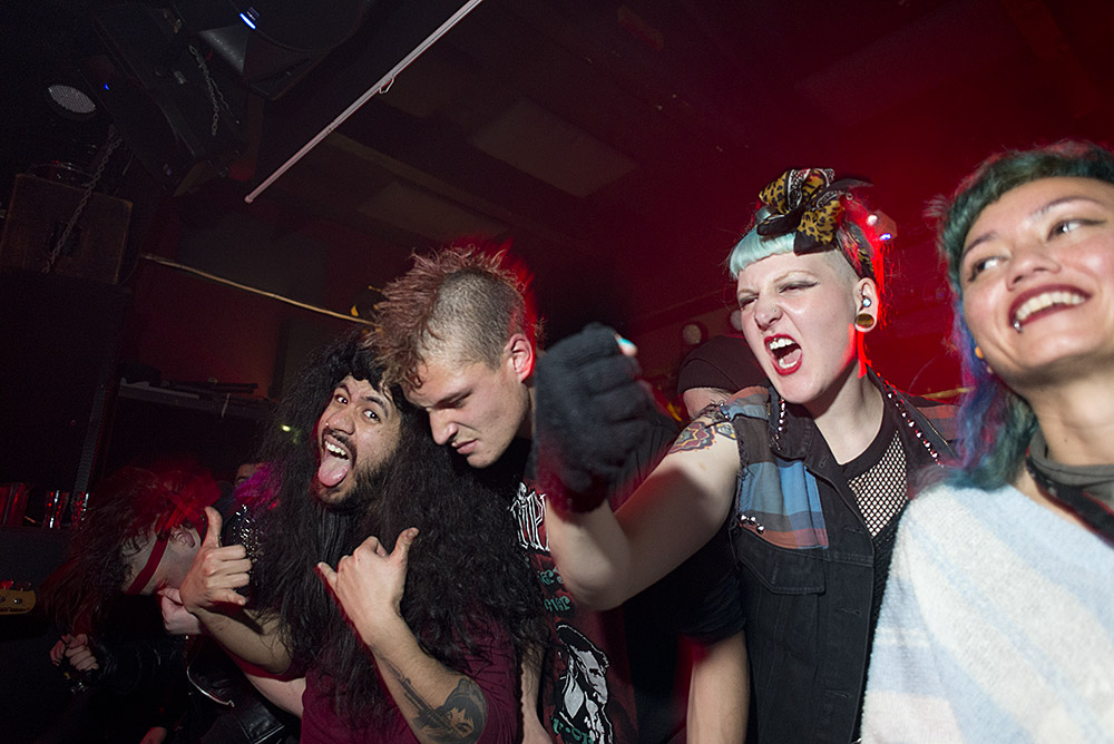 L to R: Chris, Jerry, Stacey, Charlie, Sarsha during a set by Meth Drinker at Valhalla, August 8, 2014.